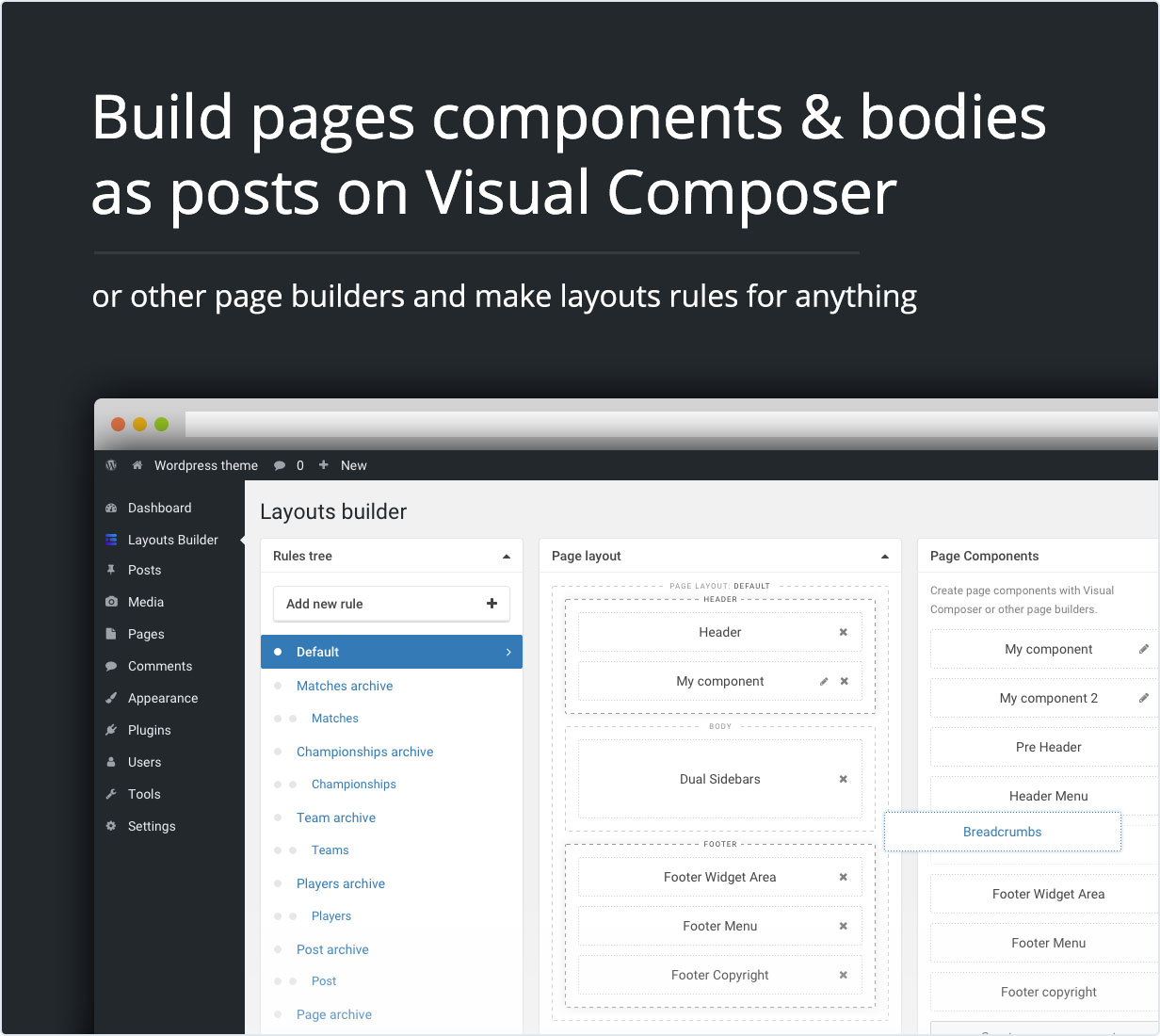 Build pages components & bodies as posts on Visual Composer or other page builders and make layouts rules for anything.
