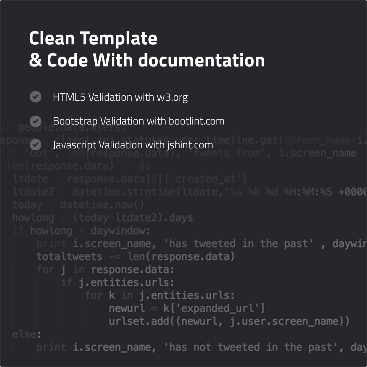 Clean Template & Code With documentation