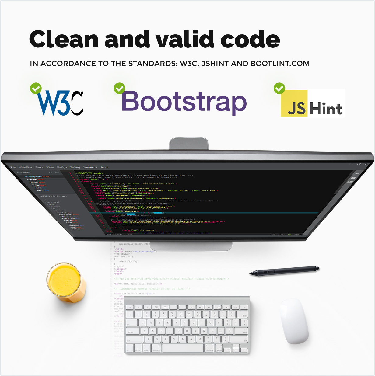 Clean and valid code in accordance to the standards: W3C, JSHINT и bootlint.com