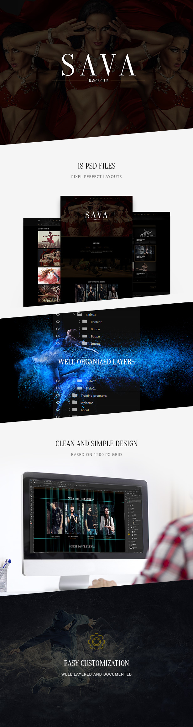 Sava — Dance school | Dance club PSD Template - 1