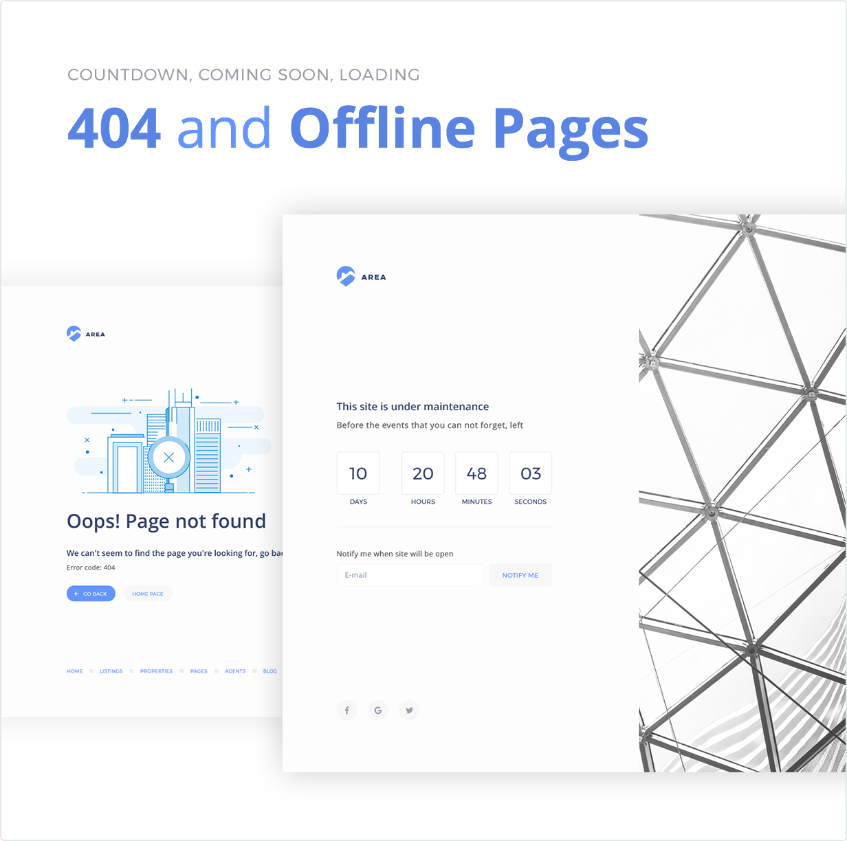 Countdown, Coming Soon, Loading, 404 and Offline Pages
