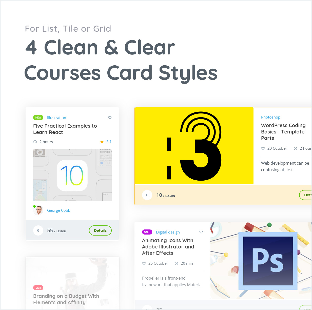 4 Clean and Clear courses Card Styles