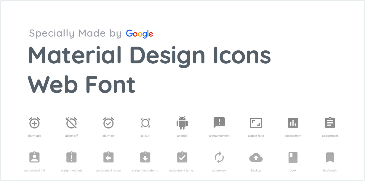 Specially Made by Google Material Design Icons Web Font