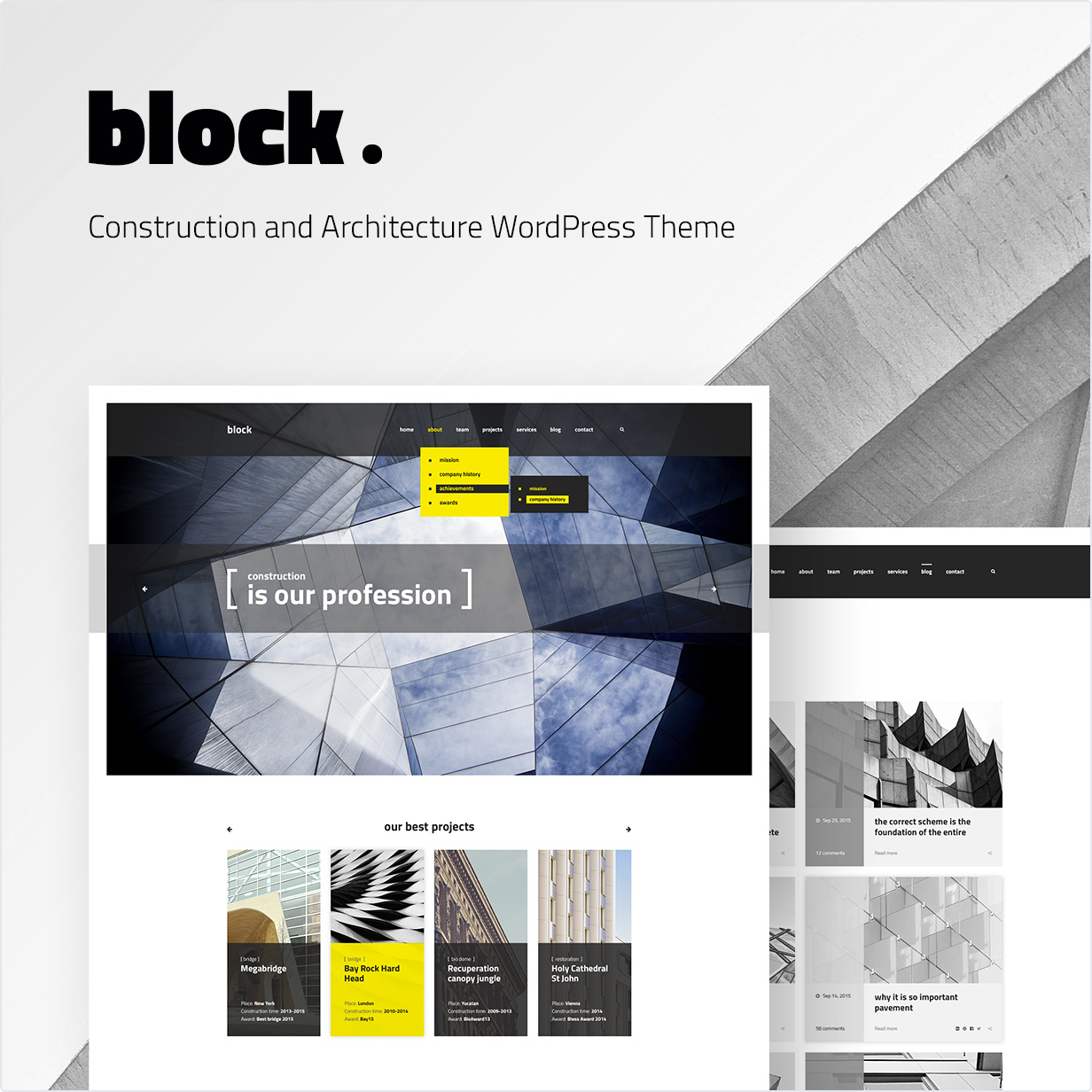 Construction and Architecture WordPress Theme Block