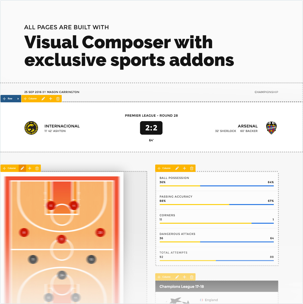 Visual Composer with exclusive sports addons