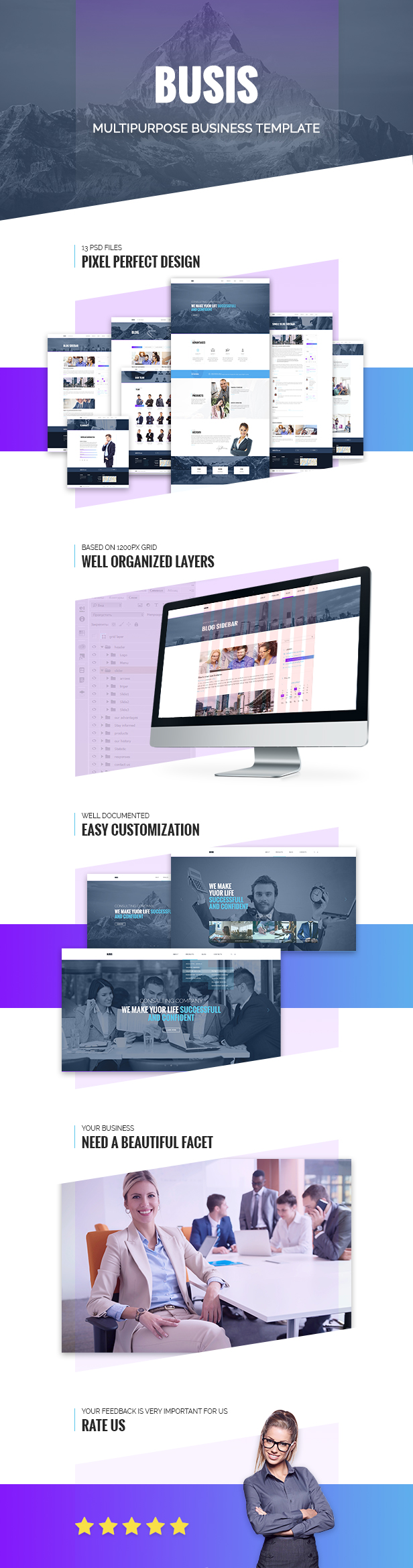 Busis — Clean Multipurpose Business & Corporate PSD Template - 2